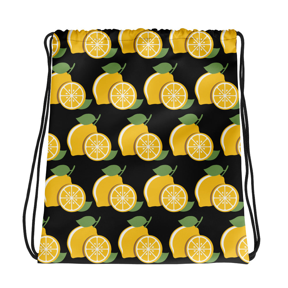 Lucky Lemons on Black Drawstring bag