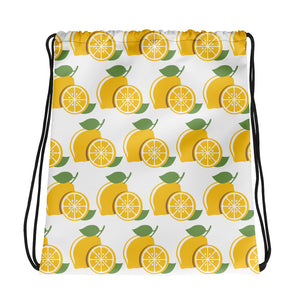 Lucky Lemons on White Drawstring bag