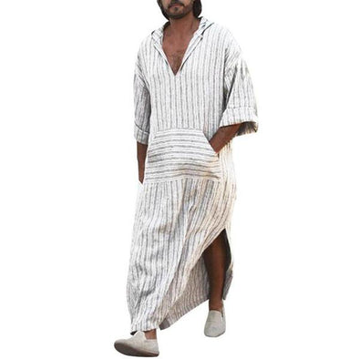 Ethnic Robes Stripe Printing Big Tops V-neck Loose Long T Shirts