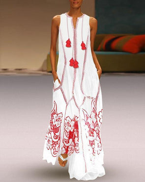 Women Daily Casual Sleeveless Cotton-blend Printed Floral Plus Size Dress