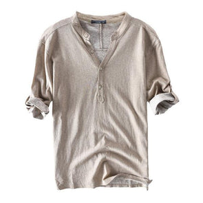 100% Cotton Breathable Half Sleeve Spring Summer Buttons T-shirt