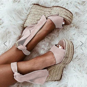 Women Wedge Heel  Artificial Suede Sandals