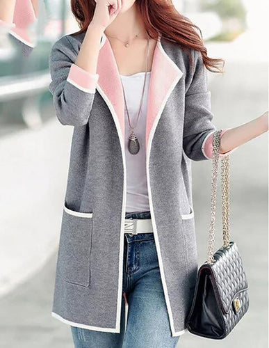 Shawl Collar Long Sleeve Pockets Coat