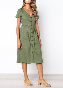 BUTTON FRONT SWING SUMMER DRESS