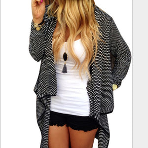 Long Sleeve Knitted Polka Dots Knitted Casual Cardigan