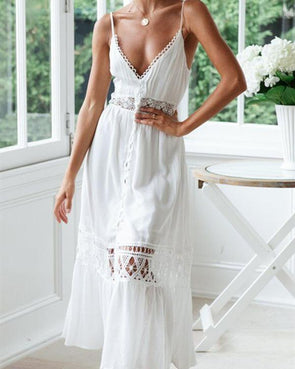 Women Vacation Sling Lace Solid Hollow Maxi Dresses