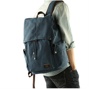High Quality Canvas Large-Capacity Drawstring Travel Laptop Backpack School Bag For Men