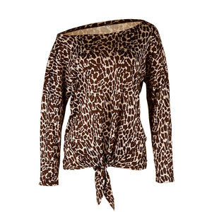 Casual Leopard Printed One shoulder T-shirt