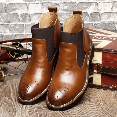 Leather Carved British Style Non-slip Men's Boots