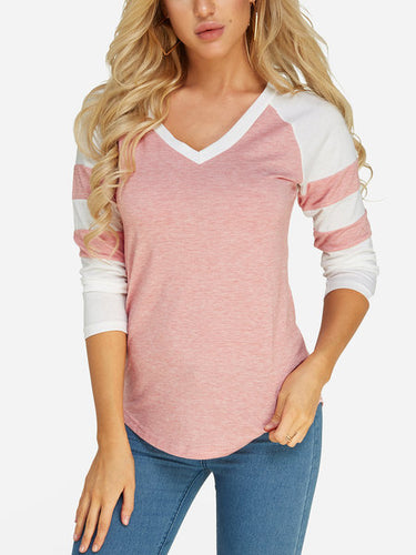 V-neck Long Sleeves T-shirts