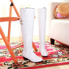 Plush Inside Buckle Decor Zipper Side Knee High Boots