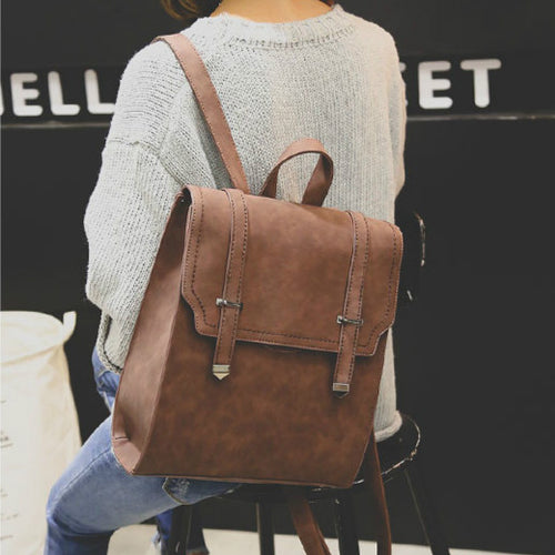 Retro Matte Square PU Metal Lock Match Large Scrub College Backpack