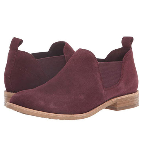 Women Suede Slip on Ankle Booties Low Chunky Heel Casual Shoes