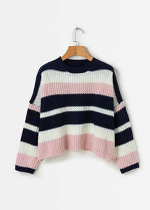 Boho Inspired women sweaters pullovers knitted Long Sleeve stripe Casual Streetwear