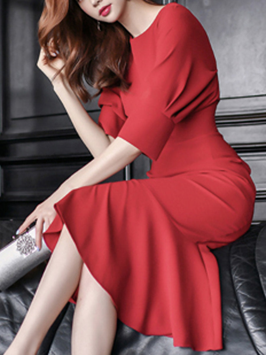 Bateauy/boat Neck Red Bodycon Batwing Cotton Cocktail Solid Midi Dress