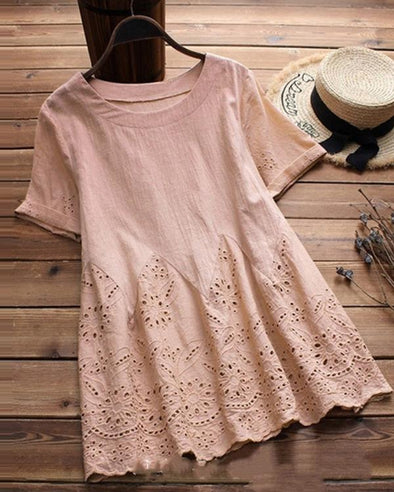 Laced Hollow Embroidered Short Sleeve Vintage Blouses Tops