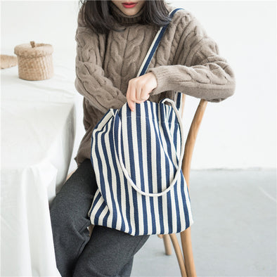 Chic Simple Striped Canvas Shoulder Bag Shopping bags Tote Bag