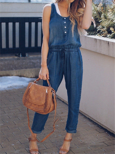 Sexy Sleeveless Tie Waist Round Neck Denim Women Jeans Jumpsuits With Buttons