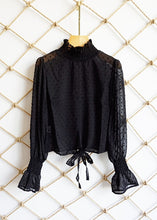 Chiffon Long Sleeve Front Strap Blouse