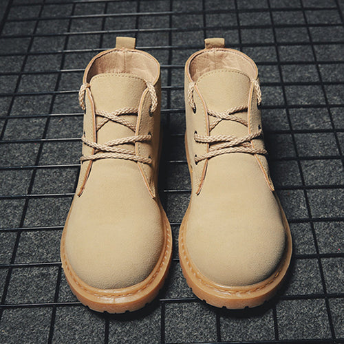Men Outdoor Slip Resistant Lace Up Work Style Desert Boots