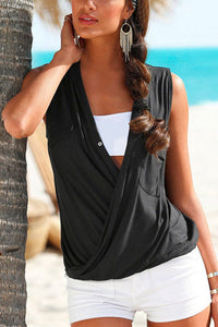 Deep V-neck Cross Front Tops