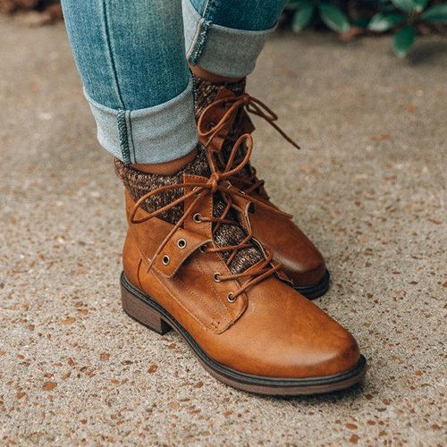 Women Casual Chic Sweater PU Boots Sweet Comfort Shoes
