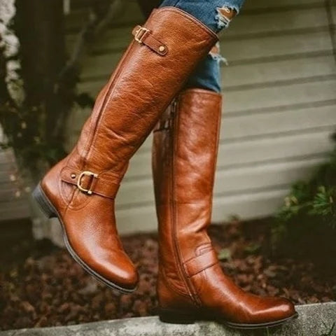 Retro Low Heel PU Zipper Boots Women Warm Boots