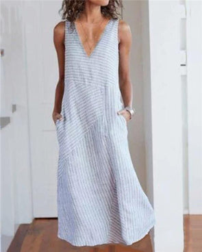 Women V Neck Dresses Shift Daily Striped Dresses