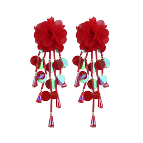Flower Sequins Pendant Earrings