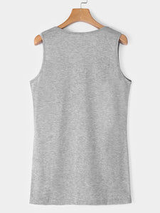 Casual Printed Round Neck Sleeveless Vest Tops