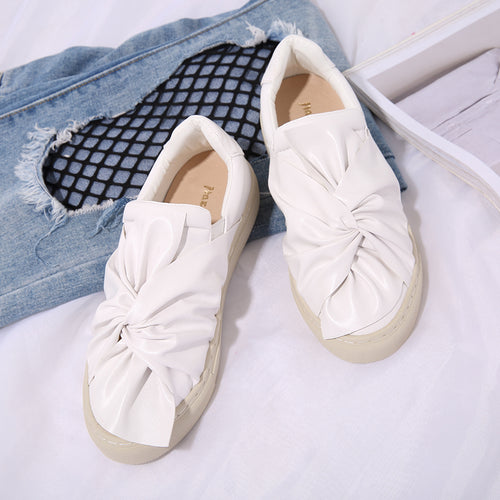 Bowknot Loafer Woman Shoes Fashion Flats Slip on Casual Shoes Leather Round Toe