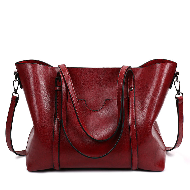 003cbdf797 Women Oil Leather Tote Handbags Casual Front Pockets Crossbody Bags  Shoulder Bags.   31.95 USD