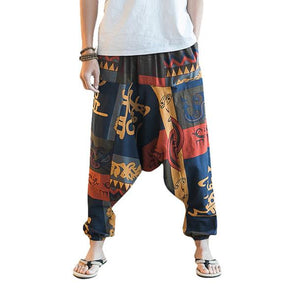 Casual Baggy 100% Cotton Harem Pants Printed Loose Wide Leg Pants