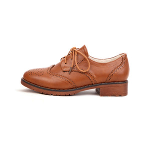 Carved Chunky Heel Oxford Shoes