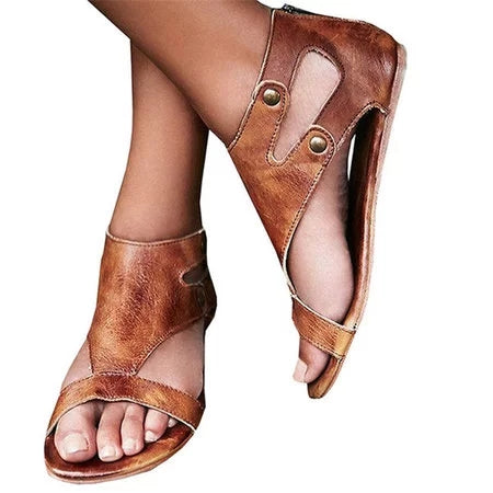 Gladiator Thong Casual Summer Shoes Women Flat PU Sandals