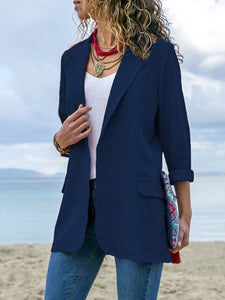 Elegant Pockets Cotton Solid Winter Shawl Collar Blazer