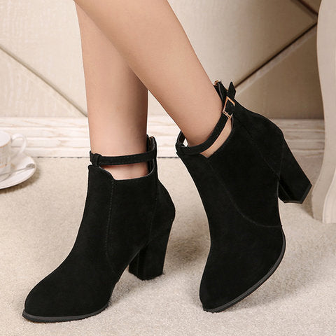 Women Plus Size PU Booties Zipper Chunky Heel Shoes