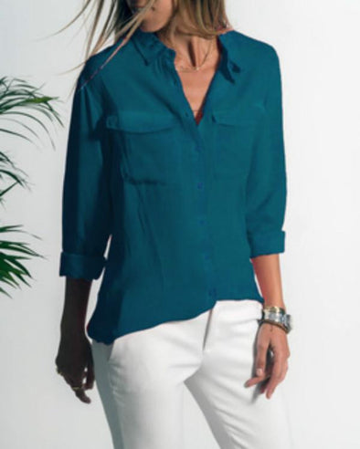 Casual Lapel long sleeved pocket shirt blouse