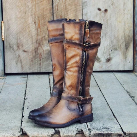 Vintage Side Zipper Boots Adjustable Buckle Faux Leather Boots