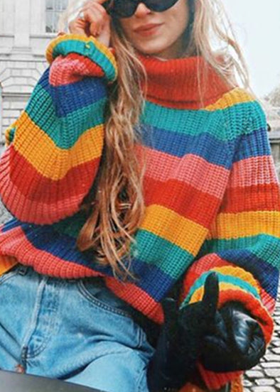Women Fahion Colorful Rain Striped Knitted Pullover Sweater