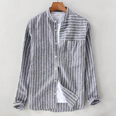 Cotton Striped Vintage Breathable Loose Fit Long Sleeve Shirt
