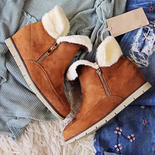 Side Zipper Suede Fur Low Heel Cabin Boots