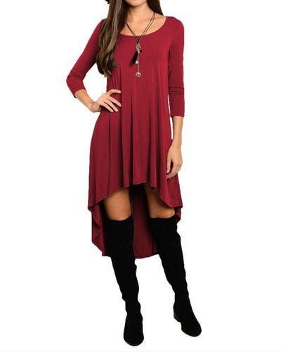 Women Casual Round Neck Asymmetric Hem Plain Long Sleeve Midi Dress