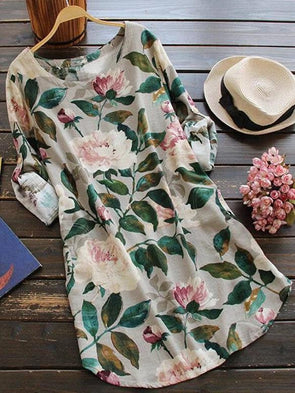 Round Neck Floral Printed Long Sleeve Dress