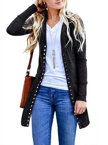Solid Long Sleeve Casual Buttoned Winter Cardigan