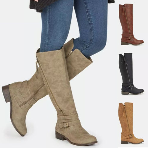 Women Casual Mid-Calf Comfort Zipper Boots
