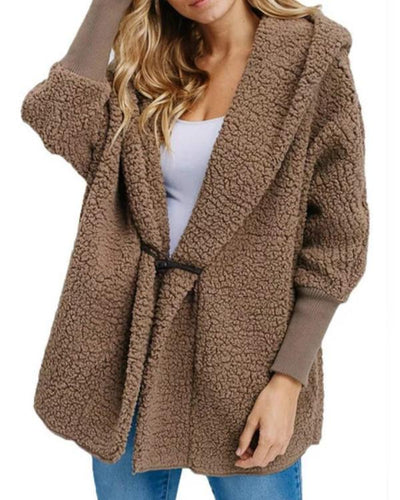 Long Sleeve Cashmere Shawl Pockets Coats