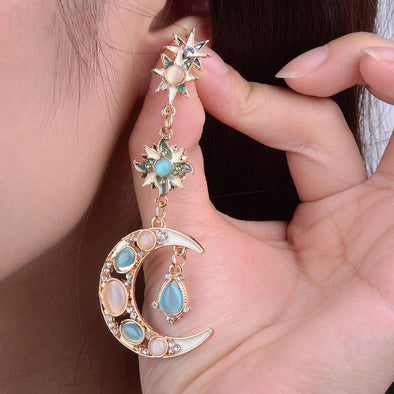 Stylish Trendy Star Sun Moon Rhinestone Crystal Stellar Dangle Earrings for Women Bohemian Jewelry