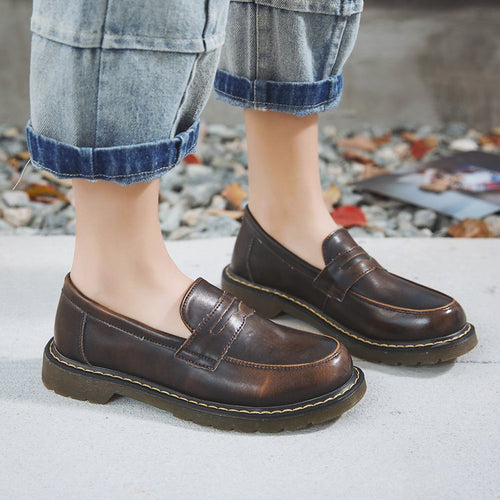 Comfort Daily Oxfords Chunky Heel Casual Faux Leather Loafers