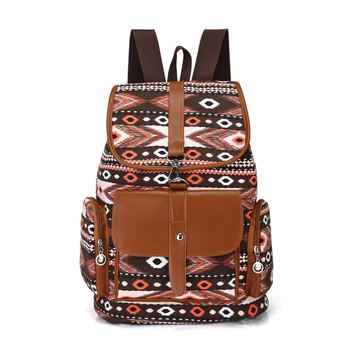 Women Canvas Drawstring Backpack Bohemian Style Outdoor Sports Daypack